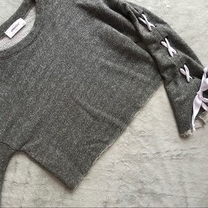 SoulCycle SKL Lace-Up Bell Sleeve Sweatshirt Gray